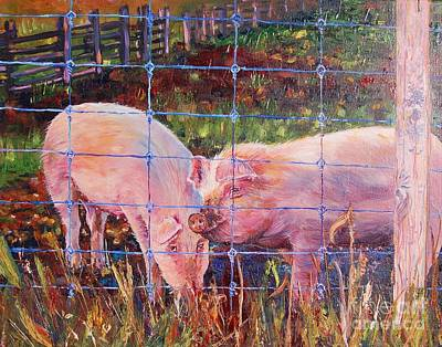 Of A Pig Painting - Oink Oink by Henny Dagenais