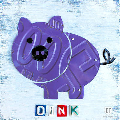 Travel Mixed Media - Oink The Pig License Plate Art by Design Turnpike