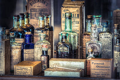 Art Print featuring the photograph Ointments Tonics And Potions - A 19th Century Apothecary by Gary Heller