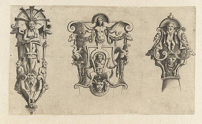 Bos Bos Drawing - Oirband With A Satyr, Anonymous, Cornelis Bos by Anonymous And Cornelis Bos