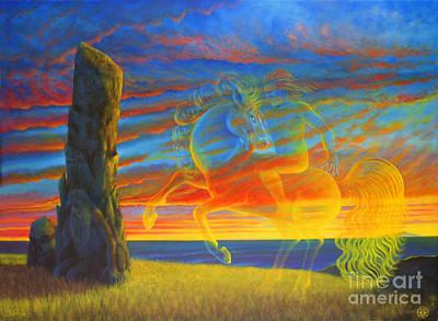 Tuatha Painting - Oisin In Tir Na Nog by Jerry Kool