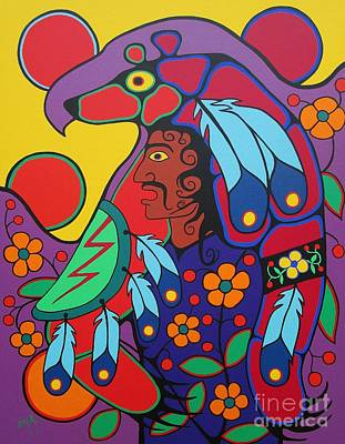 Spiritual Warrior Painting - Ojibway Warrior by Jim Oskineegish