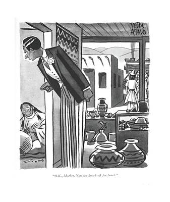 Reservations Drawing - O.k., Mother. You Can Knock Off For Lunch by Peter Arno