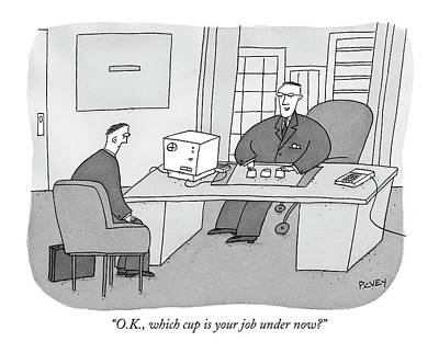 O.k., Which Cup Is Your Job Under Now? Art Print
