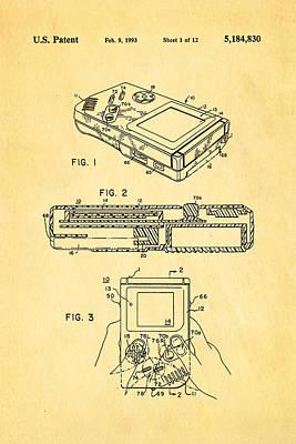 Okada Nintendo Gameboy 2 Patent Art 1993 Art Print by Ian Monk