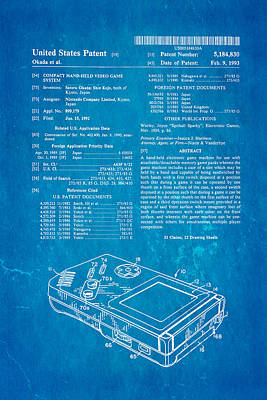 Pastimes Photograph - Okada Nintendo Gameboy Patent Art 1993 Blueprint by Ian Monk