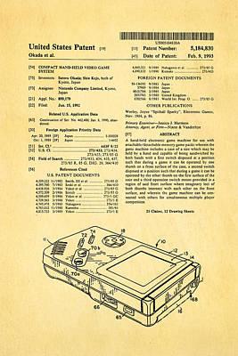 Okada Nintendo Gameboy Patent Art 1993 Art Print by Ian Monk