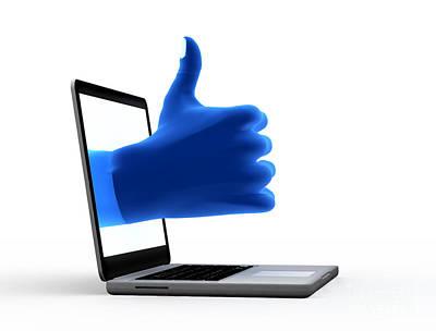 Okay Gesture Blue Hand From Screen Art Print by Michal Bednarek