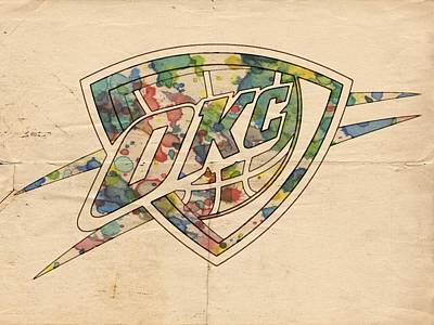 Painting - Okc Thunder Logo Art by Florian Rodarte