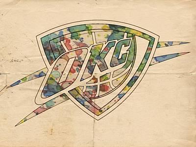Okc Thunder Logo Art Art Print by Florian Rodarte