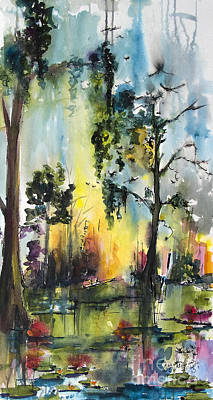 Cypress Swamp Painting - Okefenokee Forever Wetland Sunset by Ginette Callaway