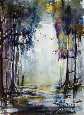 Cypress Swamp Painting - Wetland Morning Trees Water And Birds by Ginette Callaway