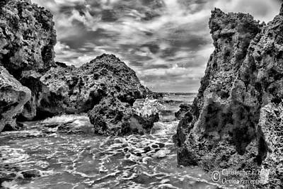 Photograph - Okinawa Coast - Bw by Christopher Holmes