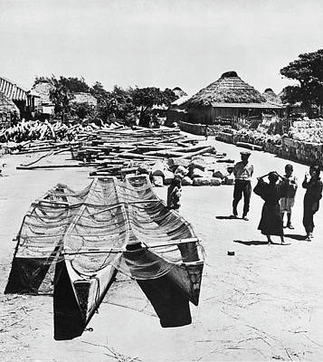 Japan Village Photograph - Okinawa Fishing Village by Underwood Archives