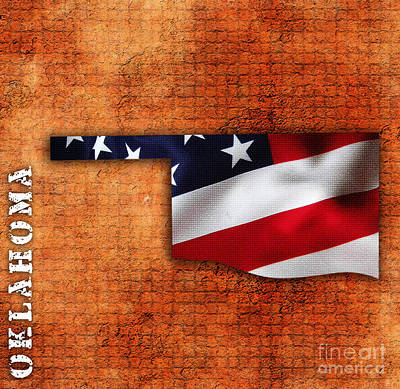 President Mixed Media - Oklahoma American Flag State Map by Marvin Blaine
