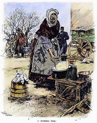 Oklahoma Drawing - Oklahoma Boomer, 1889 by Granger
