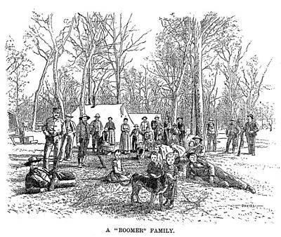 Oklahoma Drawing - Oklahoma Boomers, 1889 by Granger