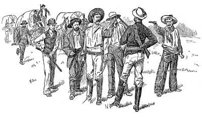 Oklahoma Drawing - Oklahoma Boomers, 1891 by Granger