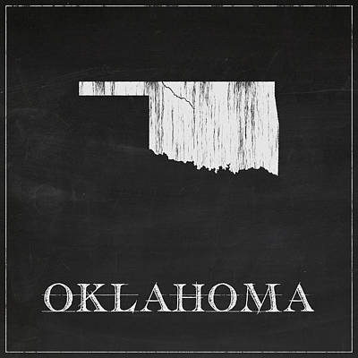 Vintage Map Digital Art - Oklahoma Chalk State Map by Finlay McNevin