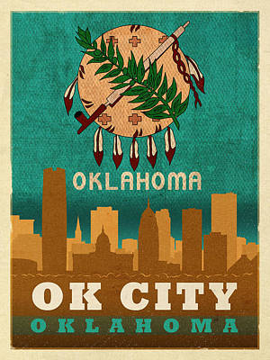 Skyline Mixed Media - Oklahoma City Skyline Flag Of Oklahoma Art Poster Series 002 by Design Turnpike