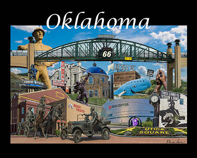 Gilcrease Photograph - Oklahoma Collage With Words by Roberta Peake