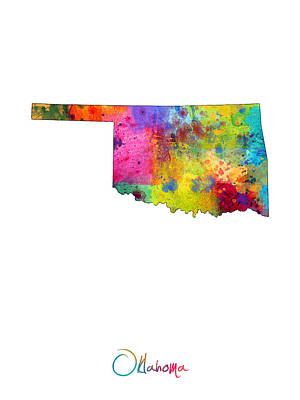Oklahoma Map Print by Michael Tompsett