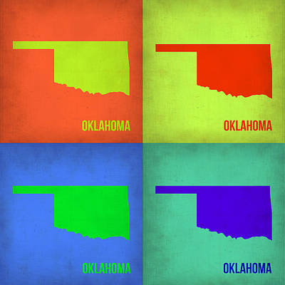 Oklahoma Painting - Oklahoma Pop Art Map 1 by Naxart Studio