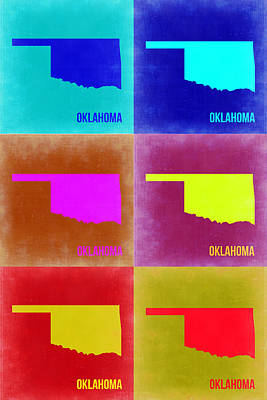 Oklahoma Pop Art Map 2 Print by Naxart Studio