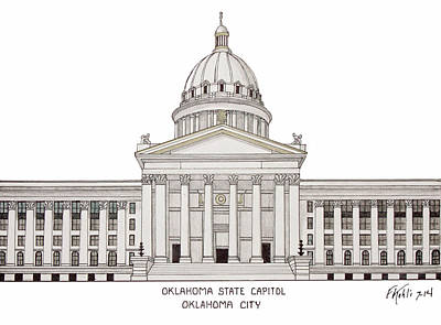 Drawing - Oklahoma State Capitol by Frederic Kohli