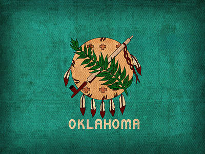 Oklahoma Mixed Media - Oklahoma State Flag Art On Worn Canvas by Design Turnpike