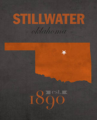 Oklahoma State University Cowboys Stillwater College Town State Map Poster Series No 084 Art Print