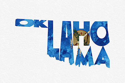 Digital Art - Oklahoma Typographic Map Flag by Ayse Deniz