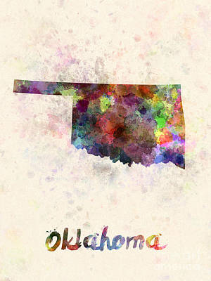 Cartography Painting - Oklahoma Us State In Watercolor by Pablo Romero