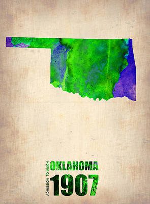 Us State Map Painting - Oklahoma Watercolor Map by Naxart Studio