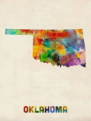 Urban Watercolor Digital Art - Oklahoma Watercolor Map by Michael Tompsett