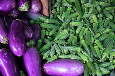 Okra Photograph - Okra And Eggplant For Sale At A Farmers by Julien Mcroberts