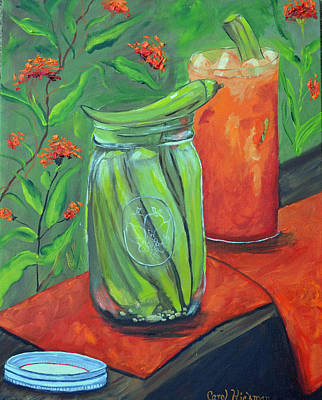 Bloody Mary Painting - Okra Merry by Carol Hickman