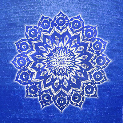 Yoga Digital Art - okshirahm Blue Crystal mandala by Peter Barreda