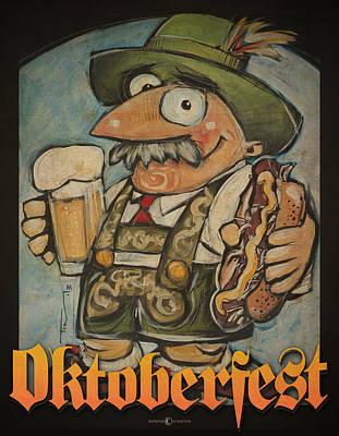 Brat Digital Art - Oktoberfest Guy Poster by Tim Nyberg