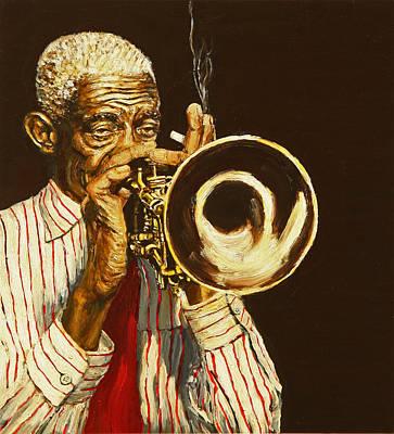 Cornet Painting - Ol' Bunk by Rudy Browne