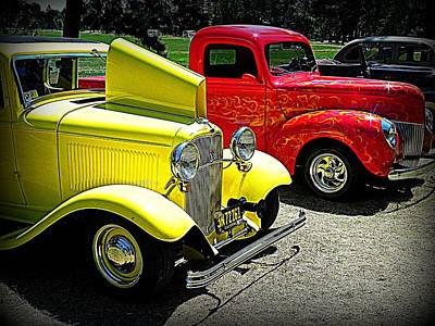 Wall Art - Photograph - Ol' Yeller With Flames-fords by Mickey Murphy