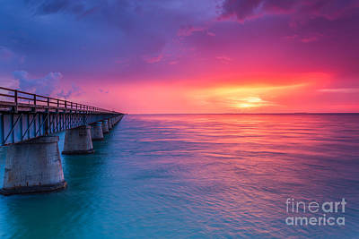 Photograph - Old 7 Mile Bridge Sunset by Hans- Juergen Leschmann
