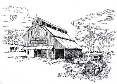 Old Barn Drawing - Old A And P Barn In Indiana by Robert Birkenes