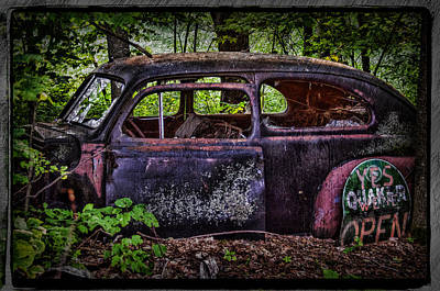 Old Abandoned Car In The Woods Art Print