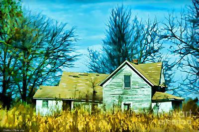 Rural Decay Digital Art - Old Abandoned House Digital Paint by Debbie Portwood