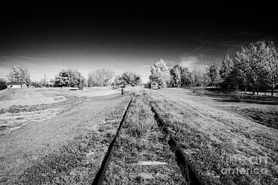 old abandoned rural raised train track bengough Saskatchewan Canada Art Print by Joe Fox