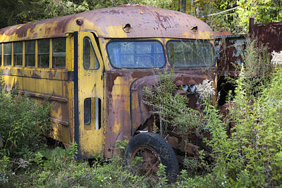 Photograph - Old Abandoned School Bus by Charles Harden
