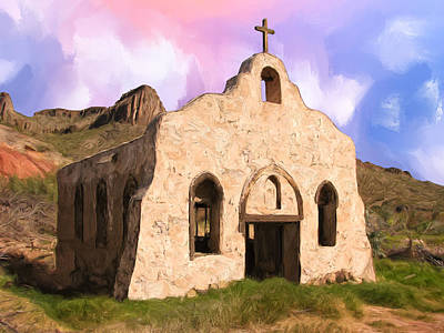 Spanish Mission Church Painting - Old Adobe Church by Dominic Piperata