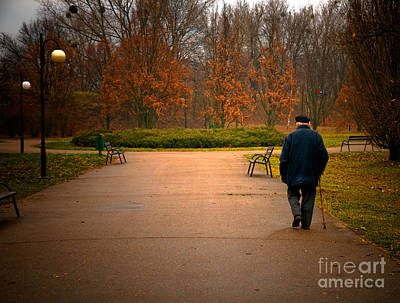Aged Photograph - Old Aged Man Walks In Park by Michal Bednarek