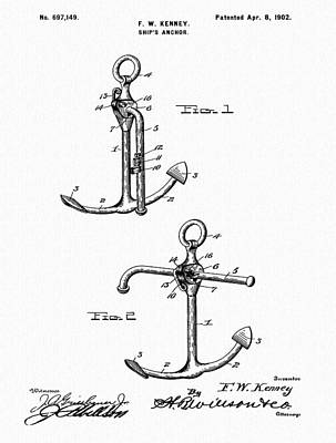 Captain Hook Drawing - Old Anchor Patent by Dan Sproul